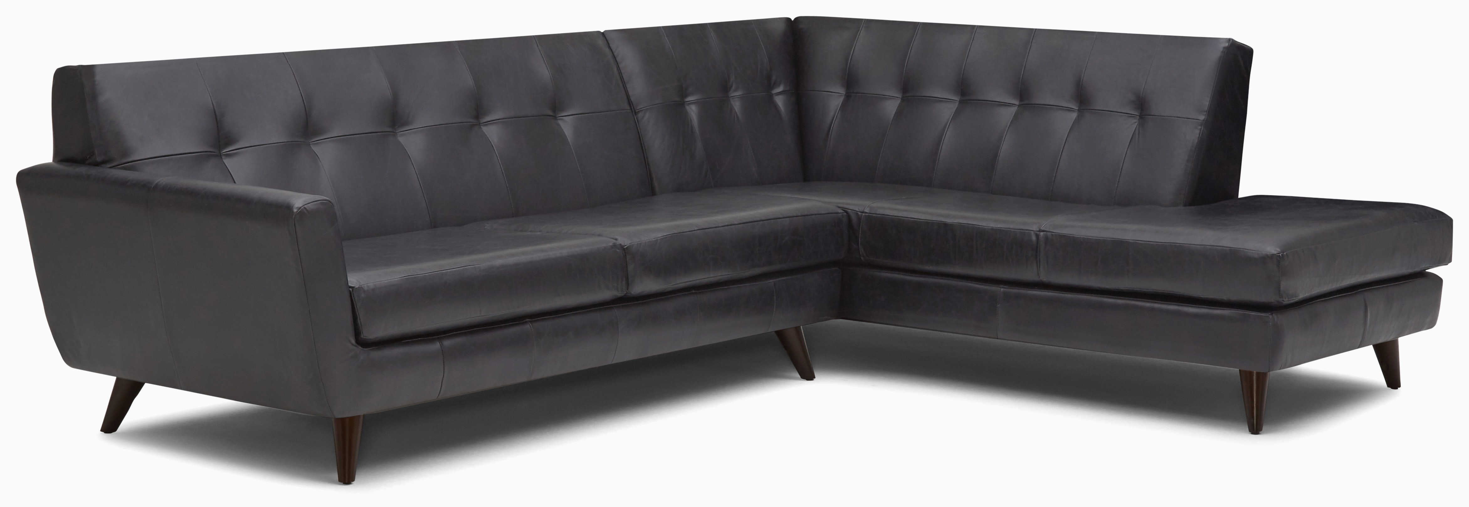 hughes leather sectional with bumper %282 piece%29 santiago steel