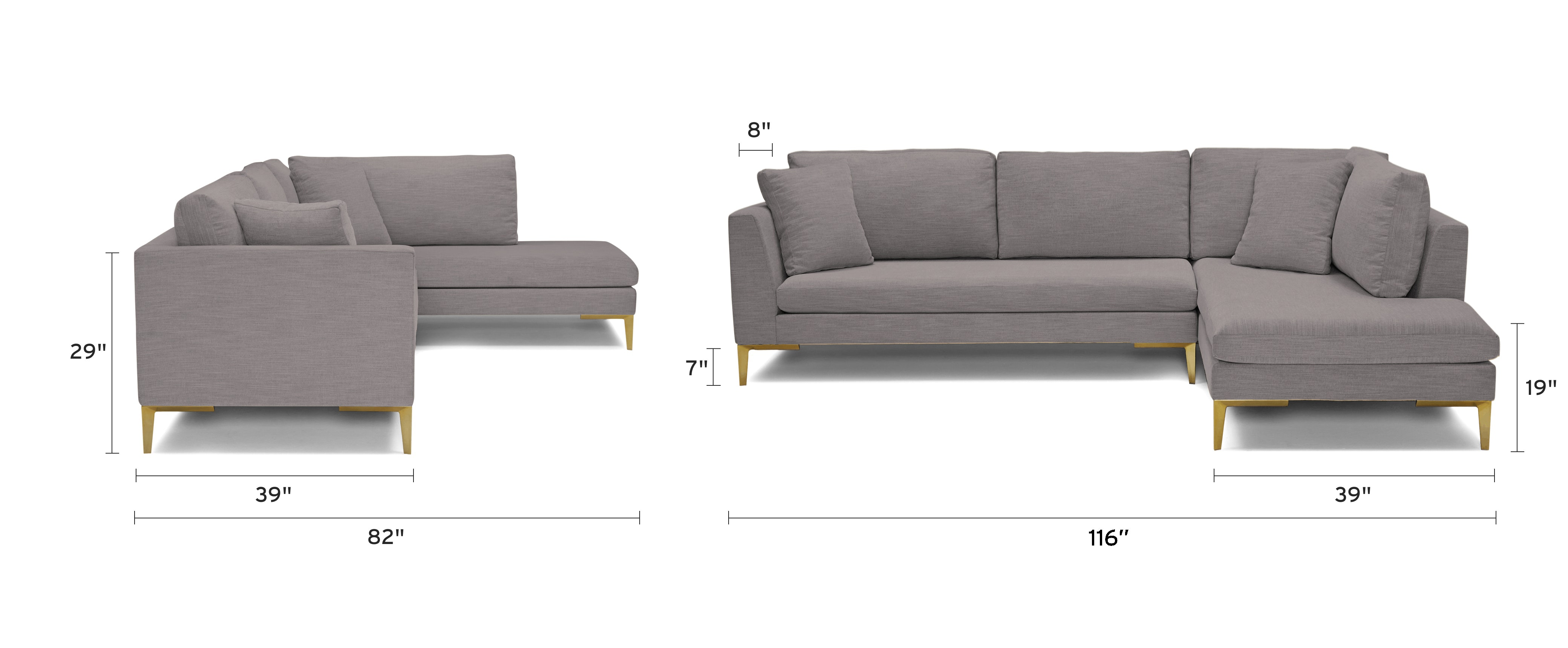 ainsley sectional with bumper piece)