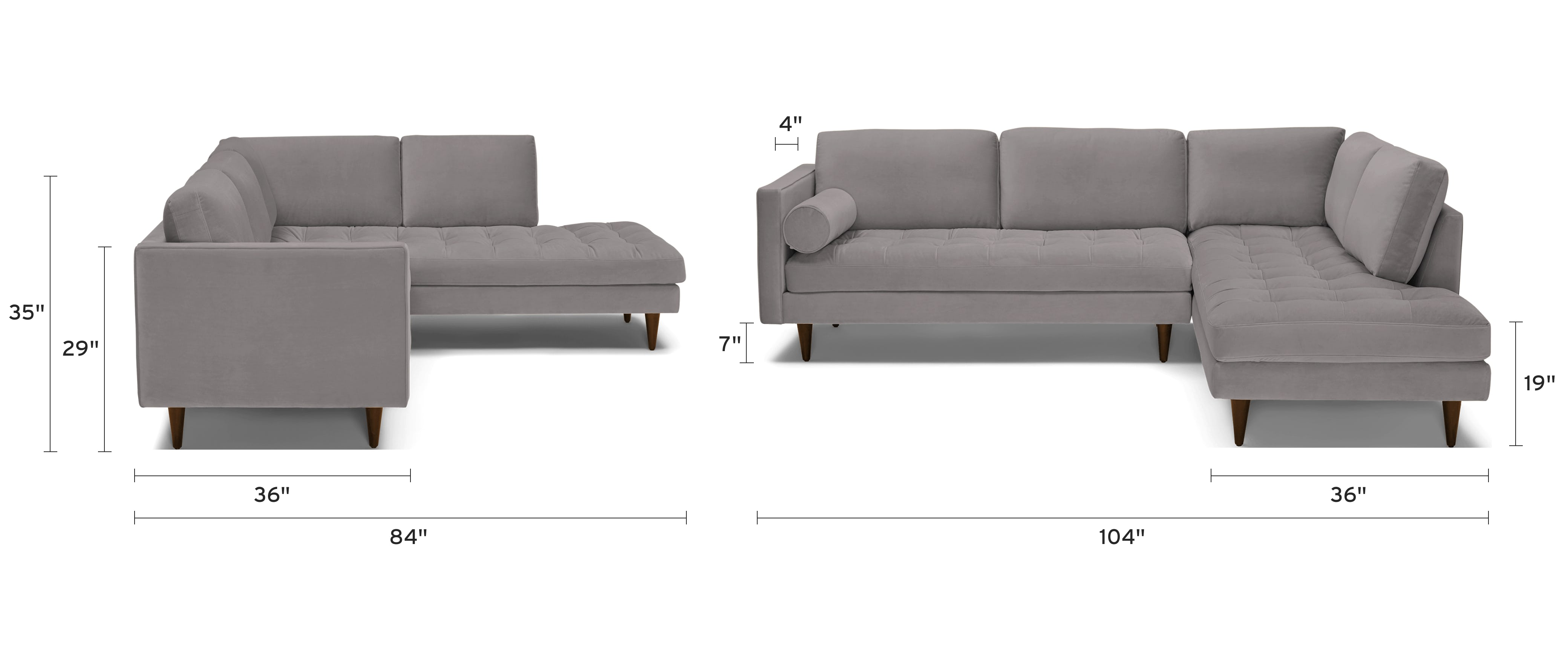 briar sectional with bumper piece) dimensional image