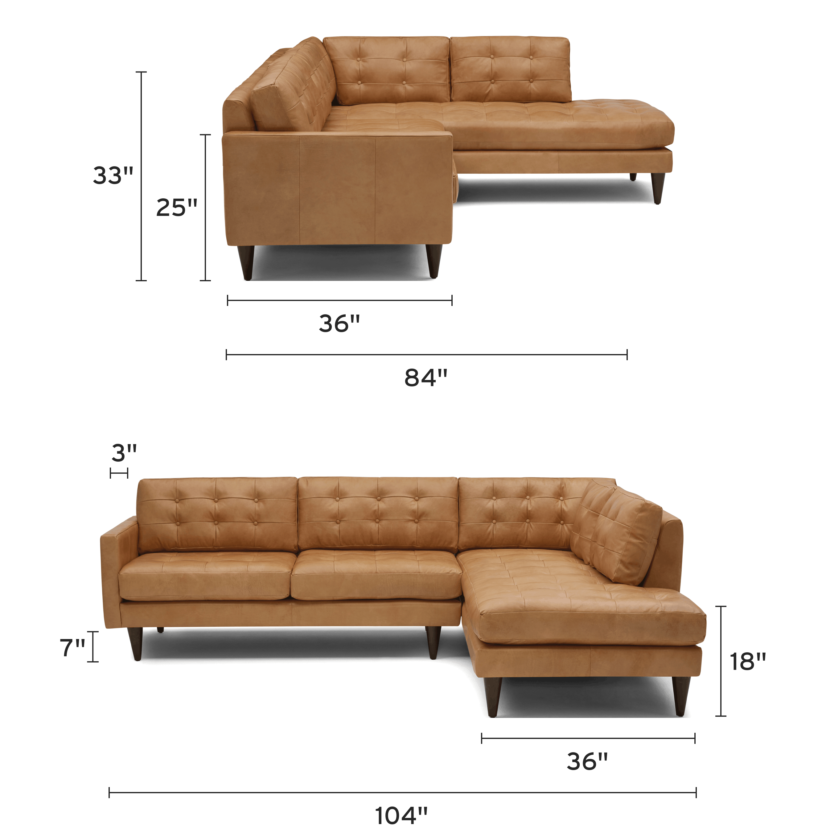 eliot leather sectional with bumper piece) mobile