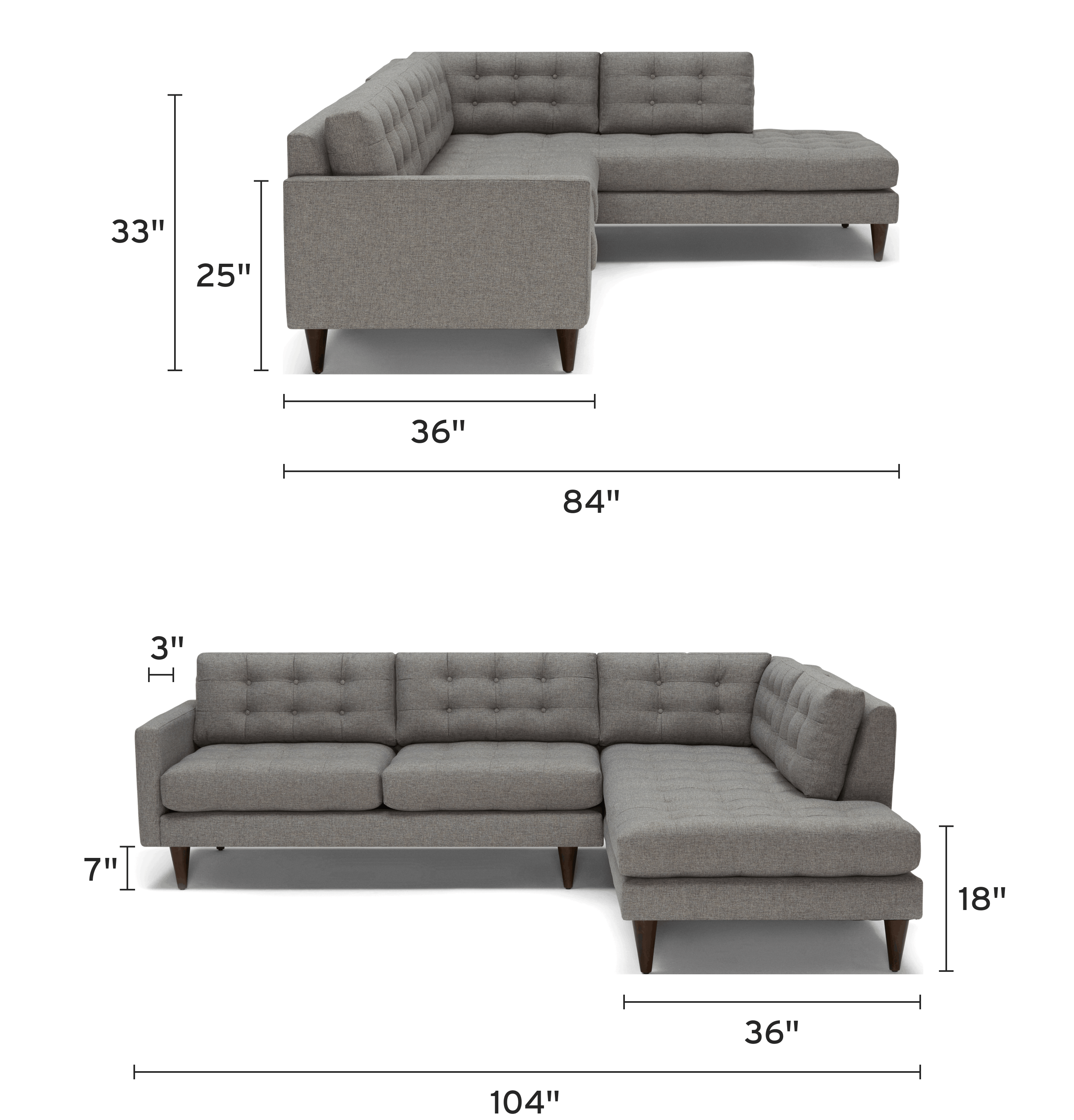 eliot sectional with bumper piece) mobile dimensional image