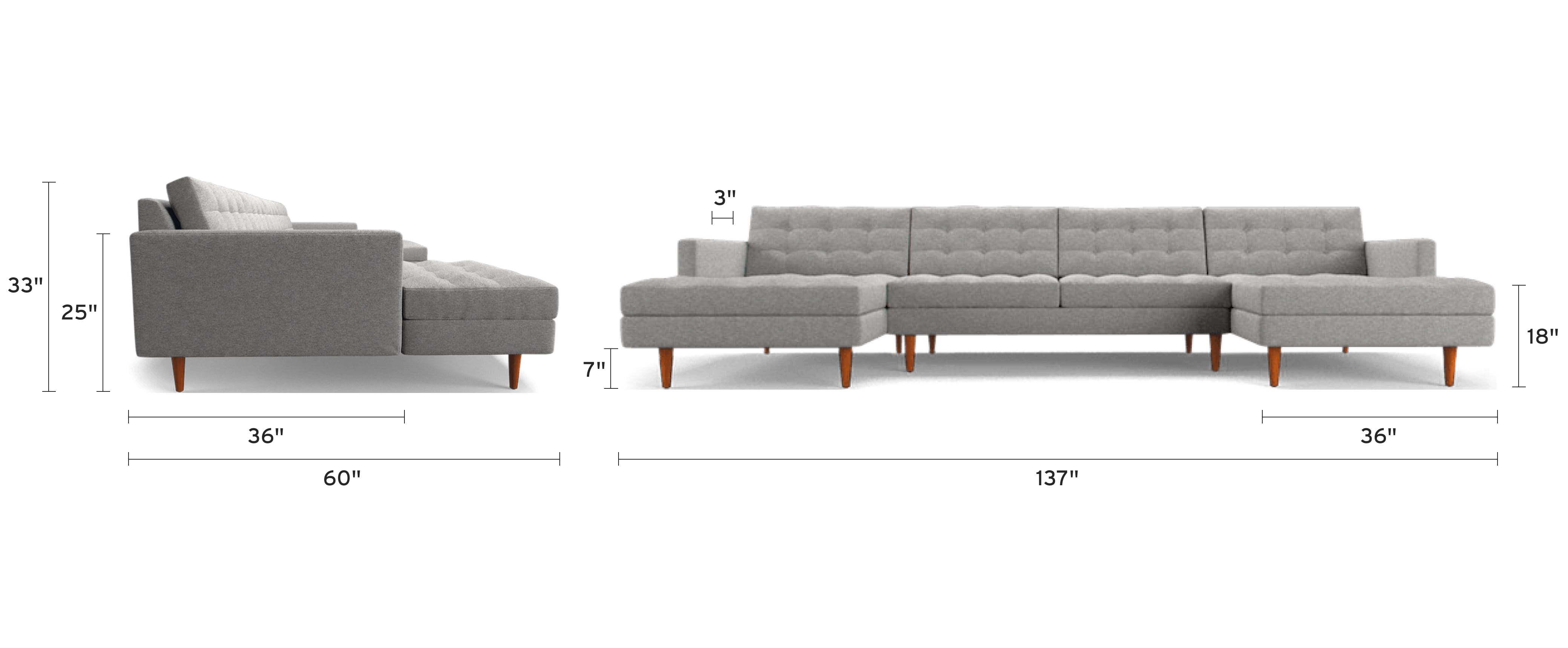 eliot chaise sectional piece) dimensional image