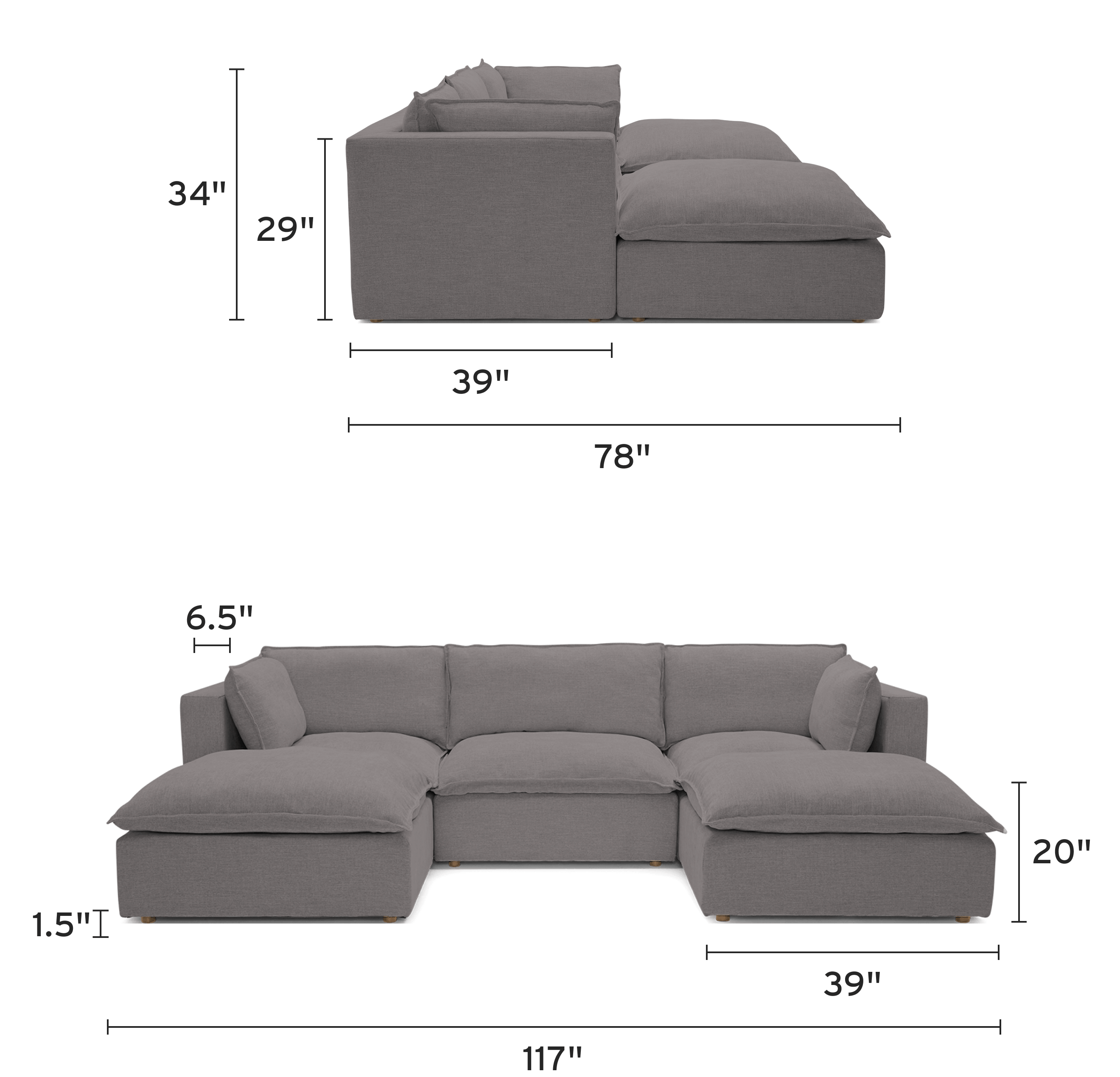 haine modular chaise sectional mobile
