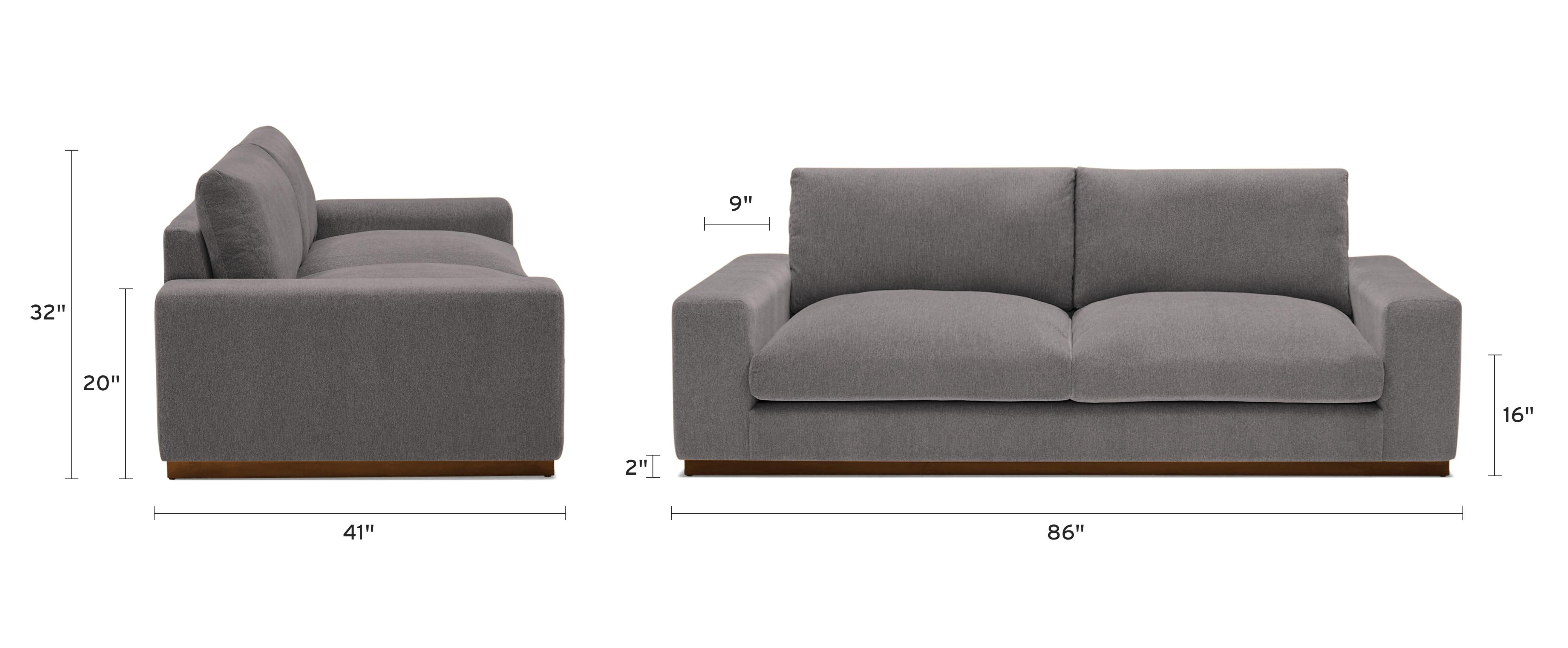 holt sofa dimensional image