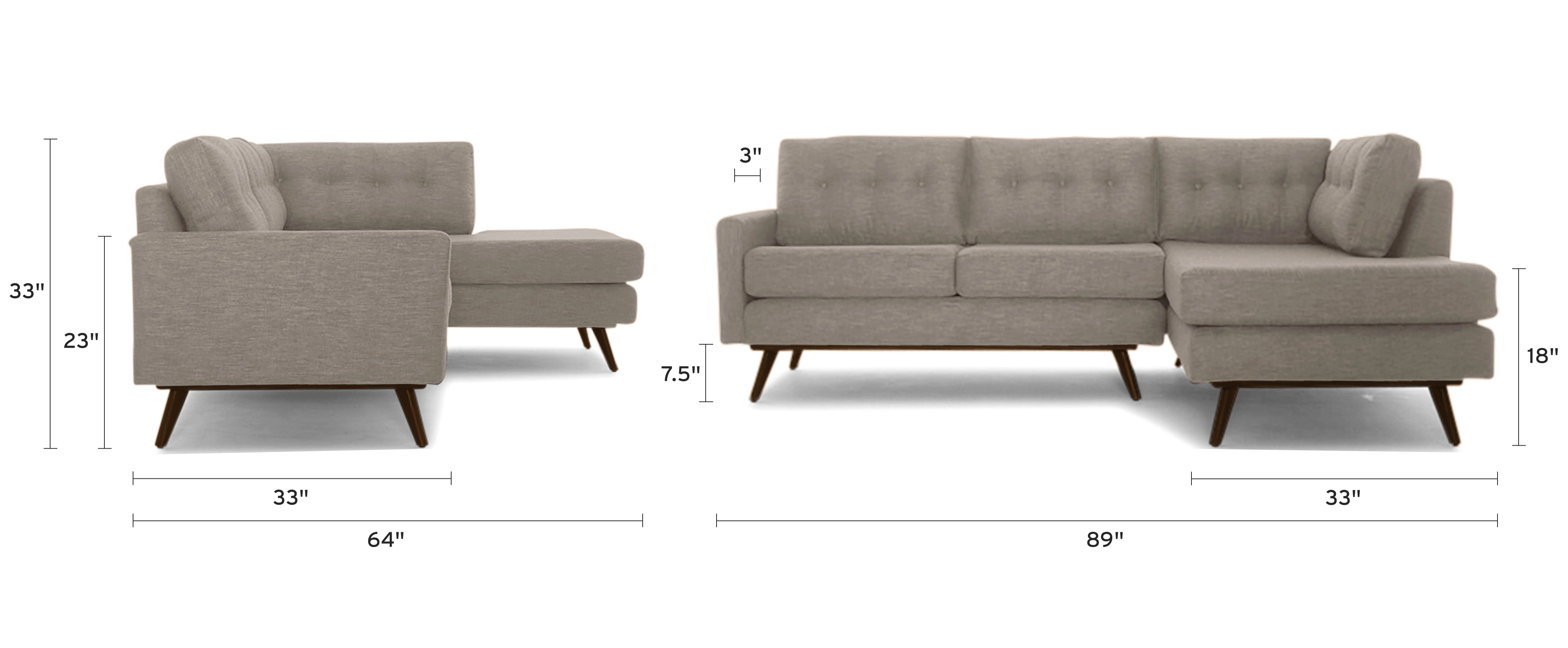 hopson apartment sectional with bumper dimensional image