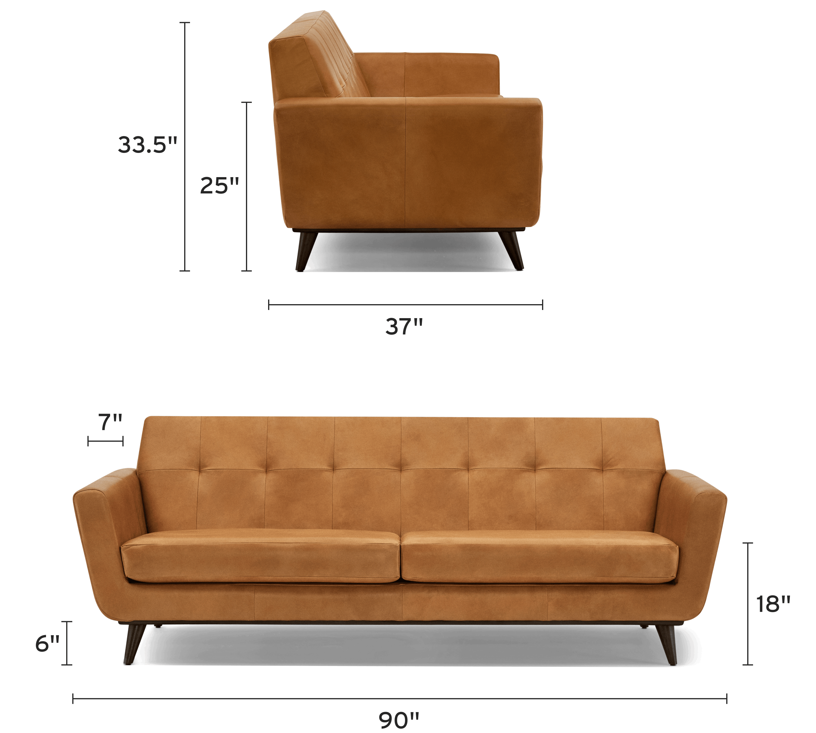 hughes leather sofa mobile dimensional image