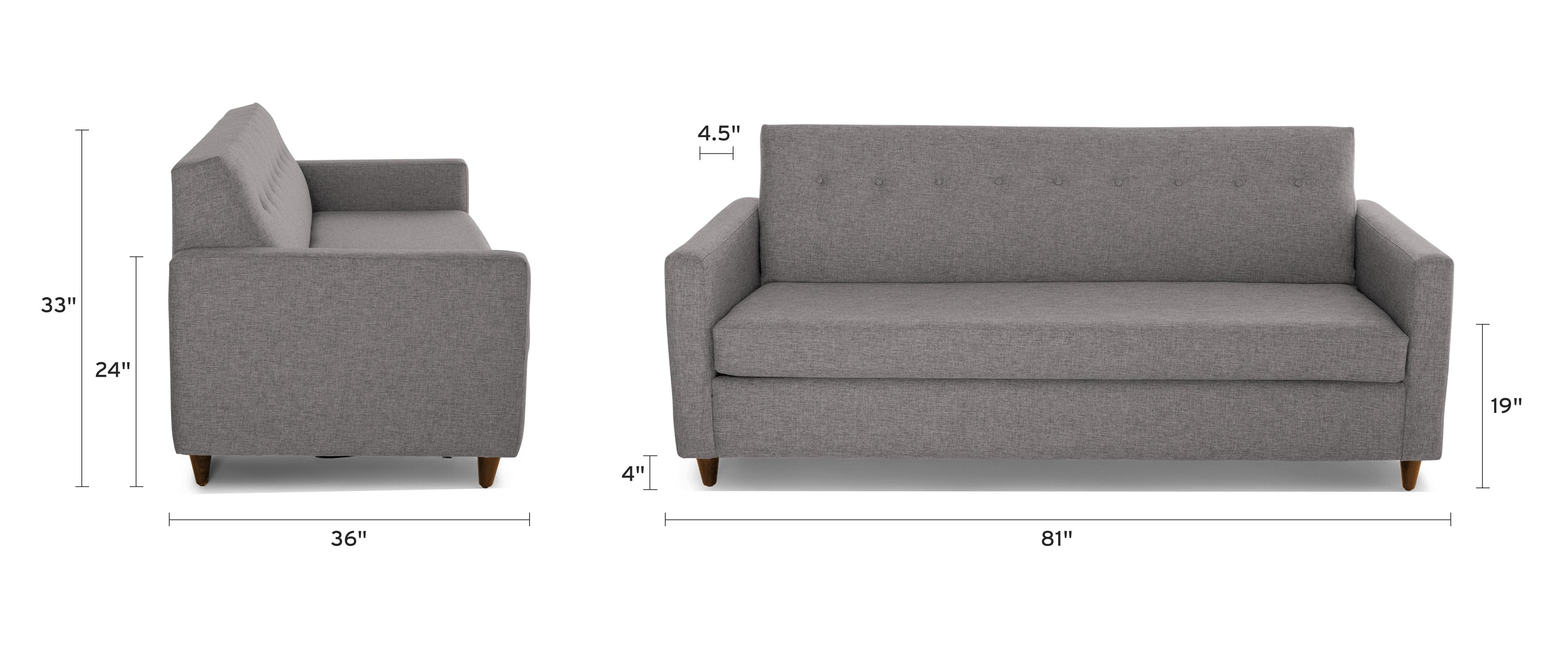 korver sleeper sofa dimensional image