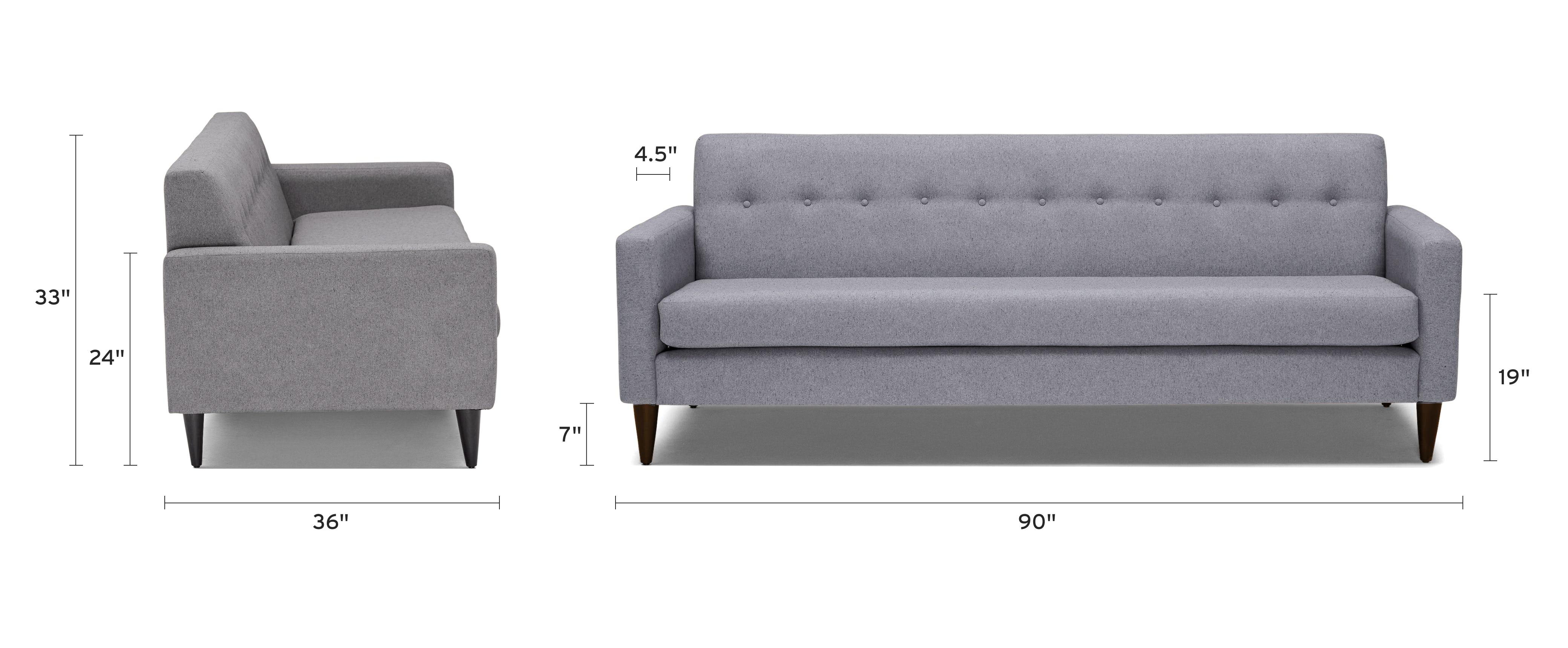 korver sofa dimensional image