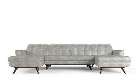Hughes Leather U-Chaise Sectional
