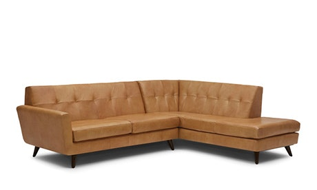Hughes Leather Sectional with Bumper