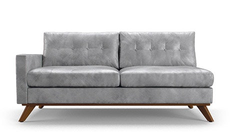 Hopson Leather Single Arm Loveseat