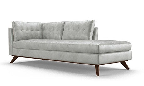 Hopson Leather Bumper Chaise