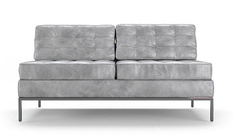 Franklin Leather Armless Loveseat