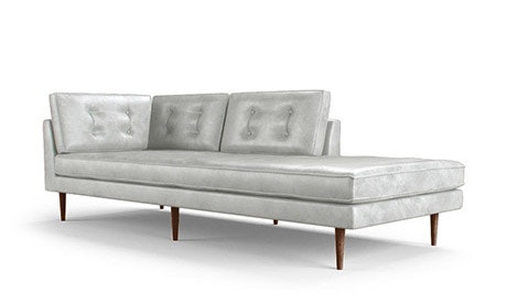 Braxton Leather Bumper Chaise