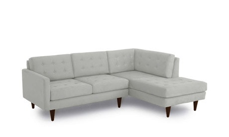 Eliot Leather Apartment Sectional with Bumper