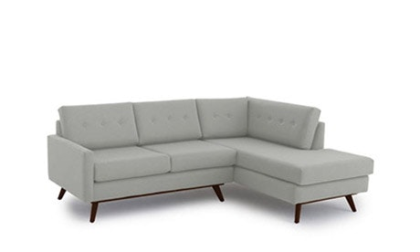 Hopson Leather Apartment Sectional with Bumper