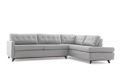 Hopson Leather Bumper Sleeper Sectional