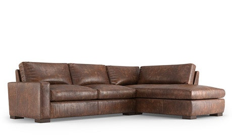 Anton Leather Sectional with Bumper