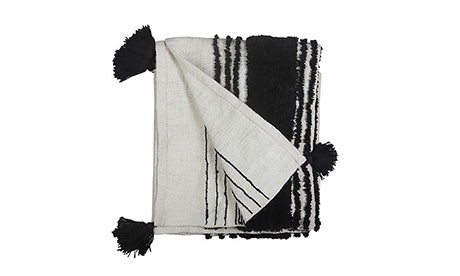 Tufted Slub Black and White Throw