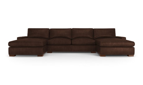 Anton Leather U-Chaise Sectional