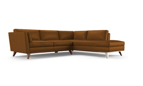 Roller Leather Sectional with Bumper