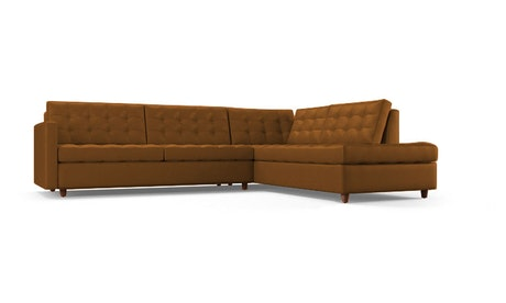 Eliot Leather Bumper Sleeper Sectional