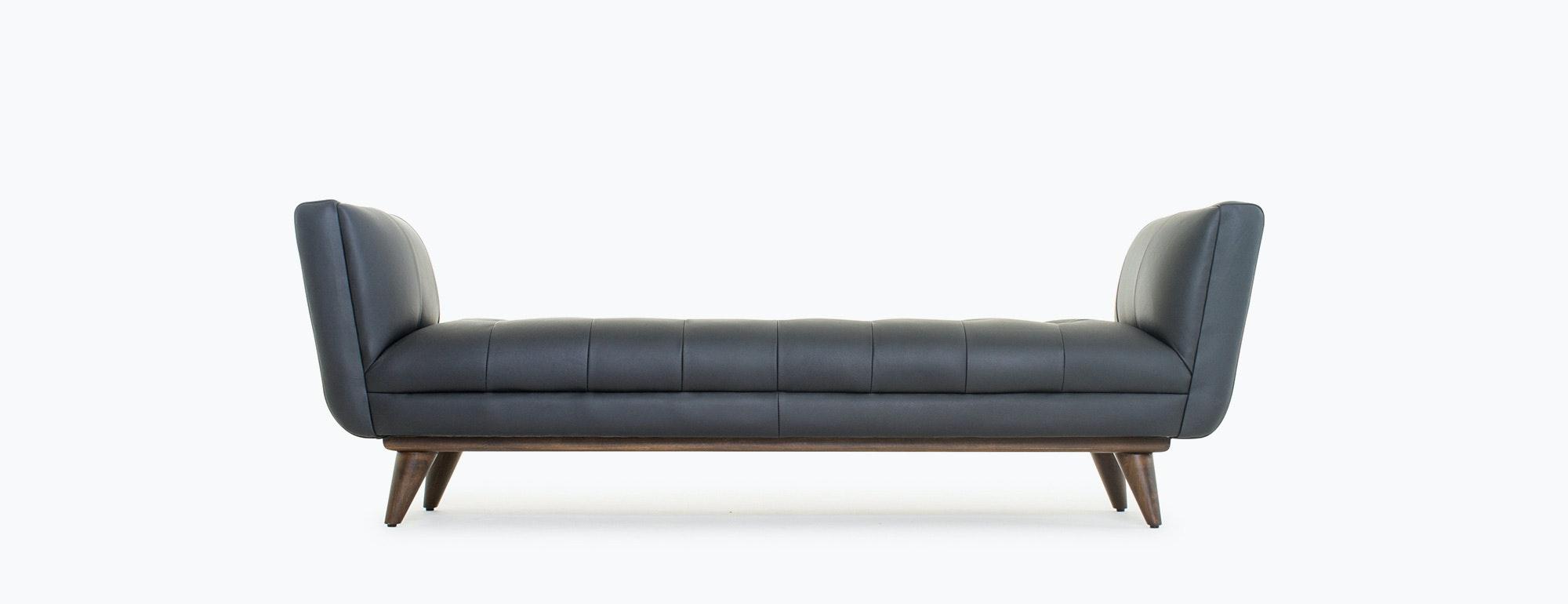 hughes leather bench  joybird - shown in brighton black leather