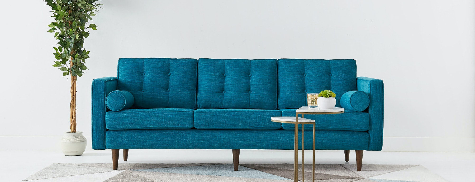 Aqua Leather Sofa Cindy Crawford Home Marcella Spa Blue