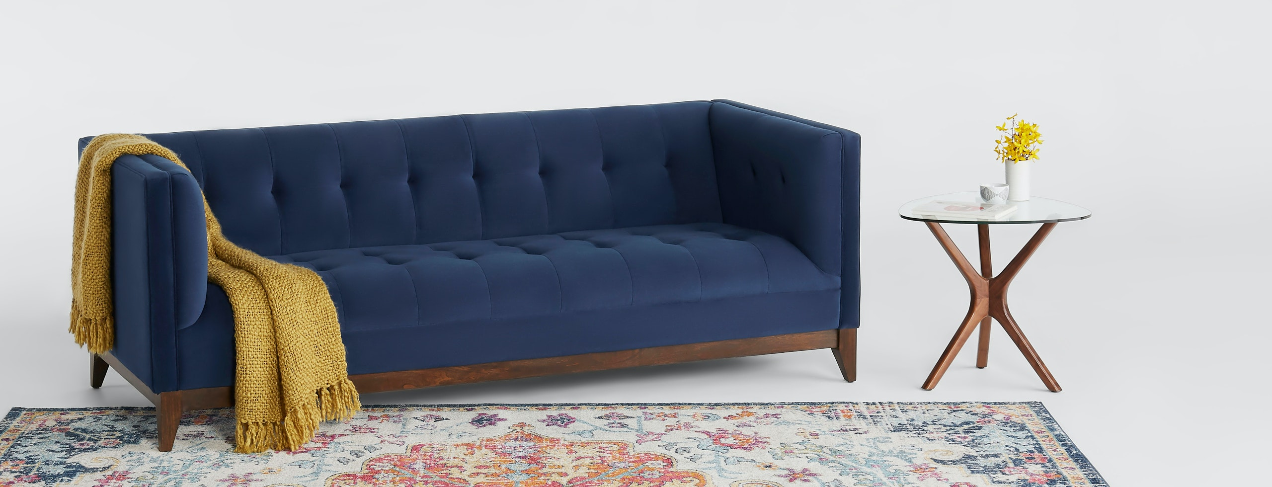 shown in Bella Navy Fabric