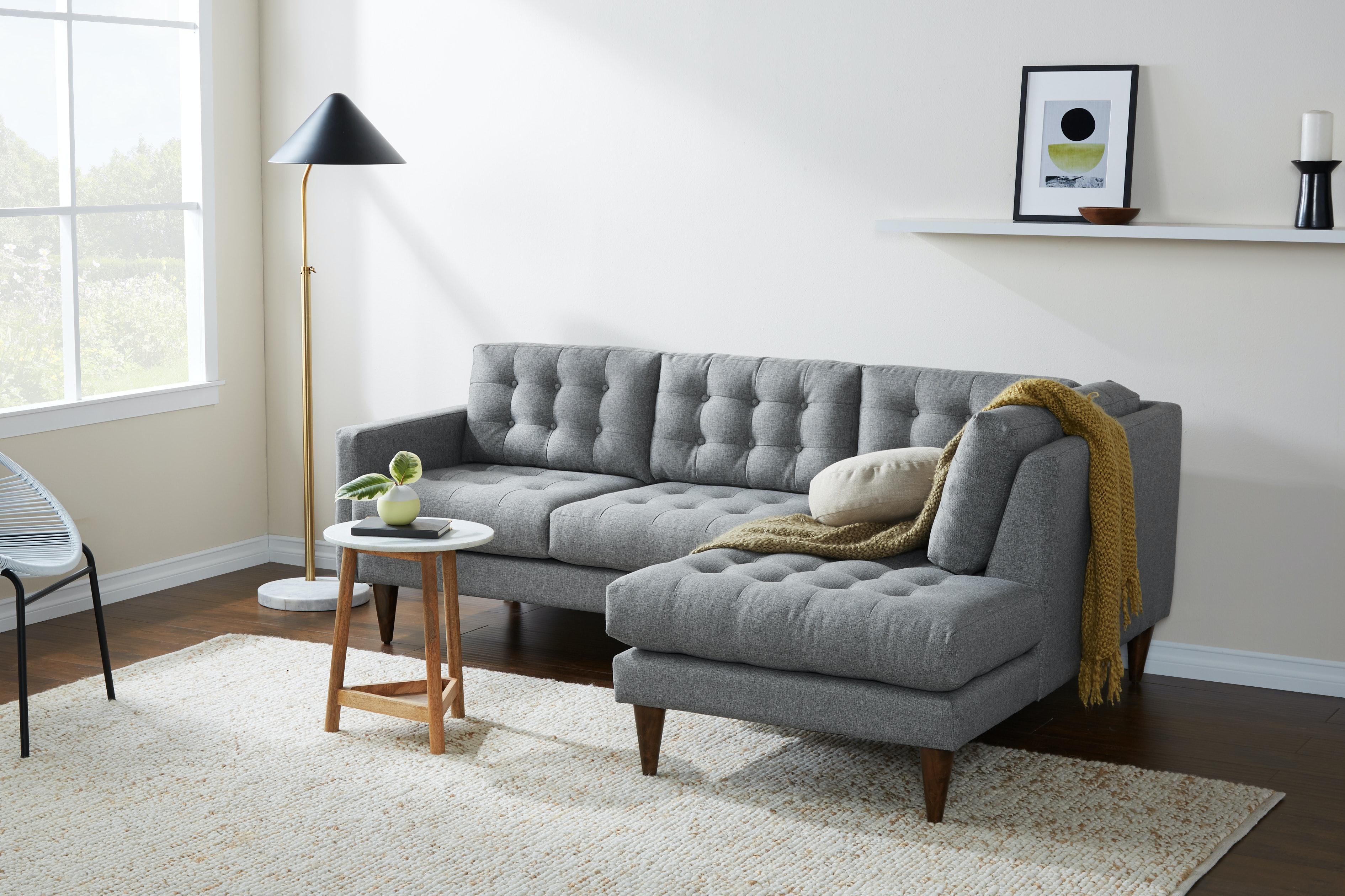 Eliot Apartment Sectional with Bumper Taylor Felt Grey Flip