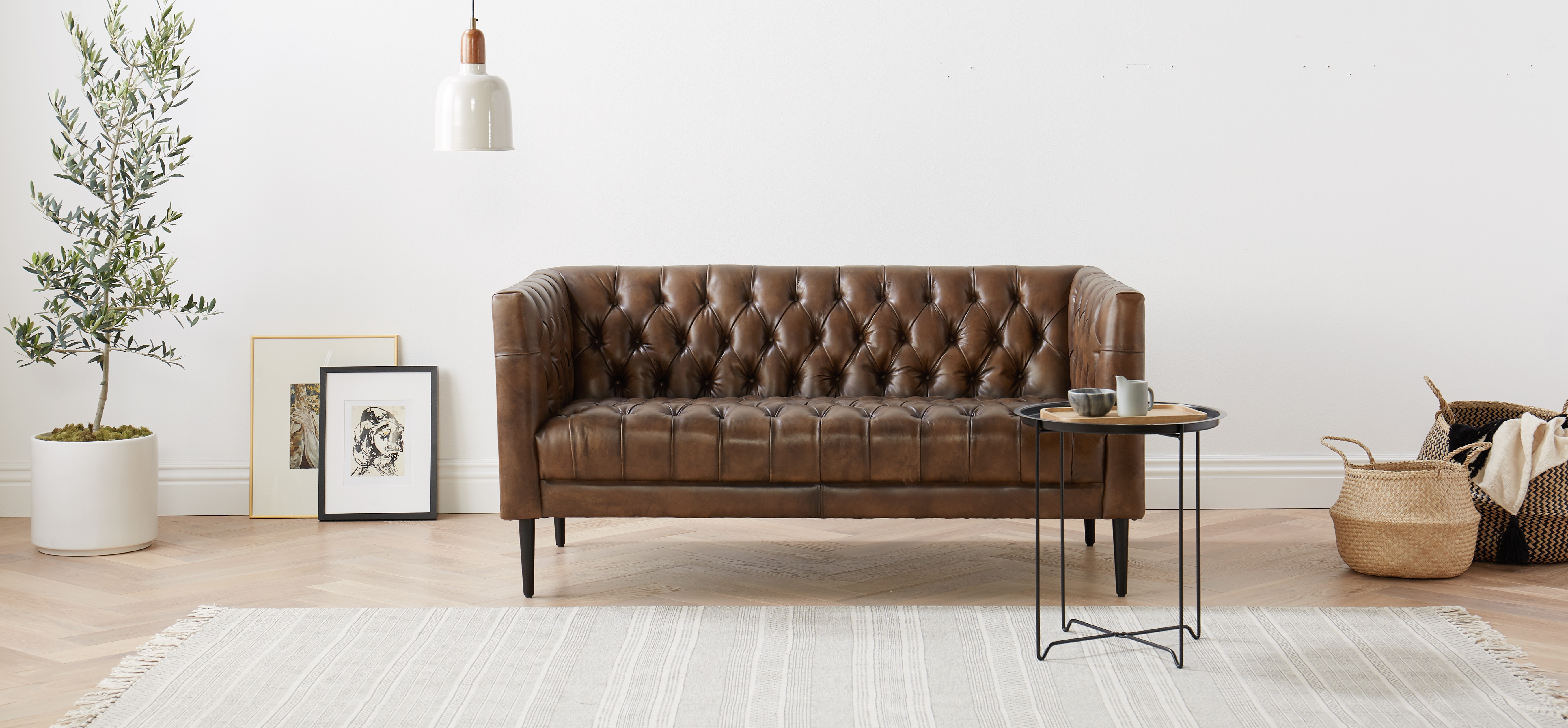 Vaughn Leather Leather Apartment Sofa by Joybrid