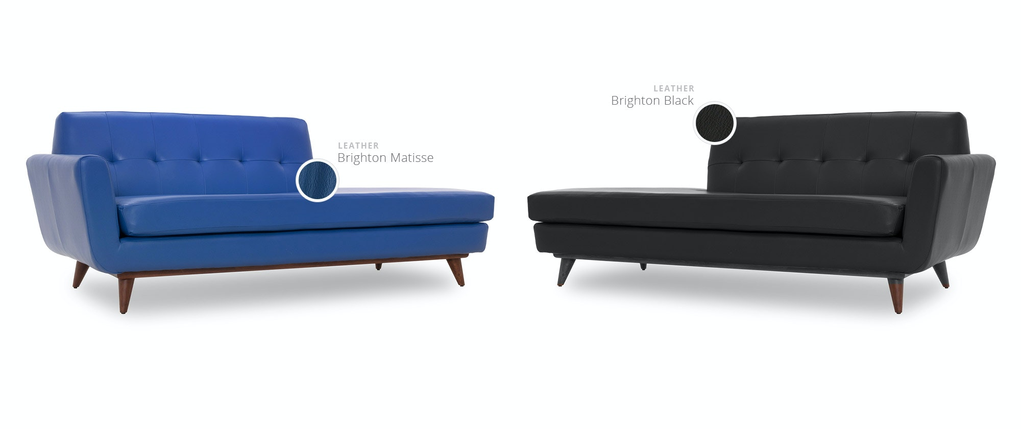 hughes leather chaise  joybird - shop by color