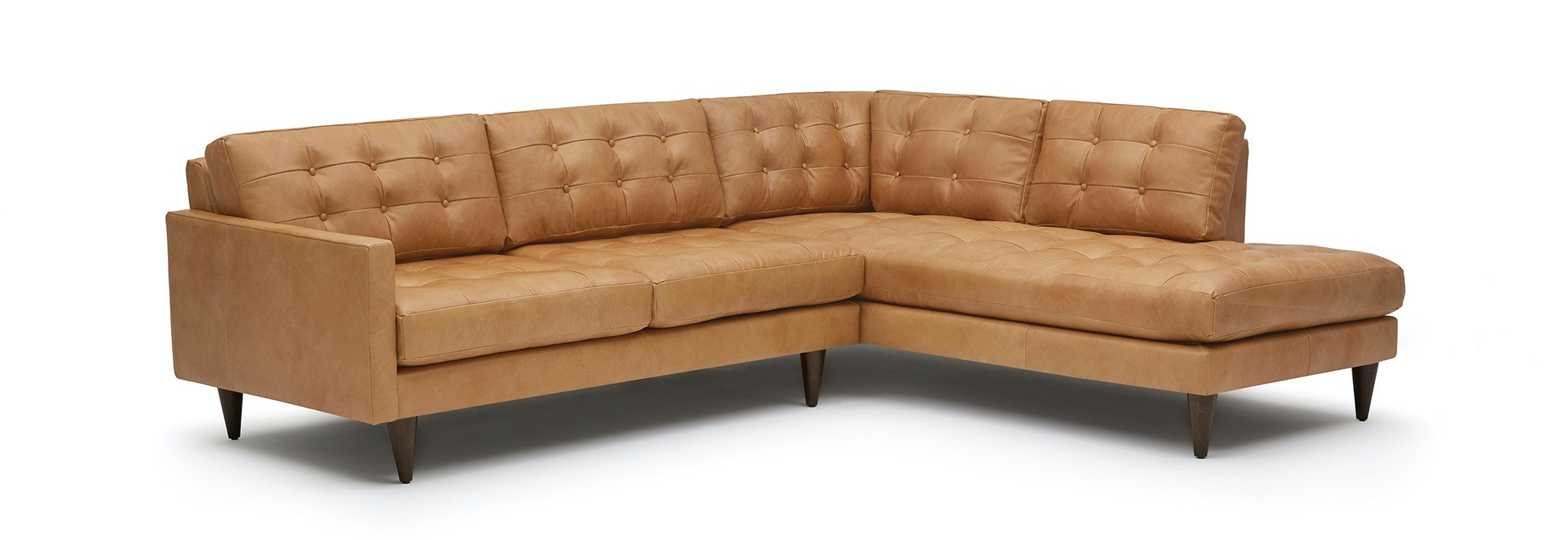 Eliot Leather Sectional With Bumper