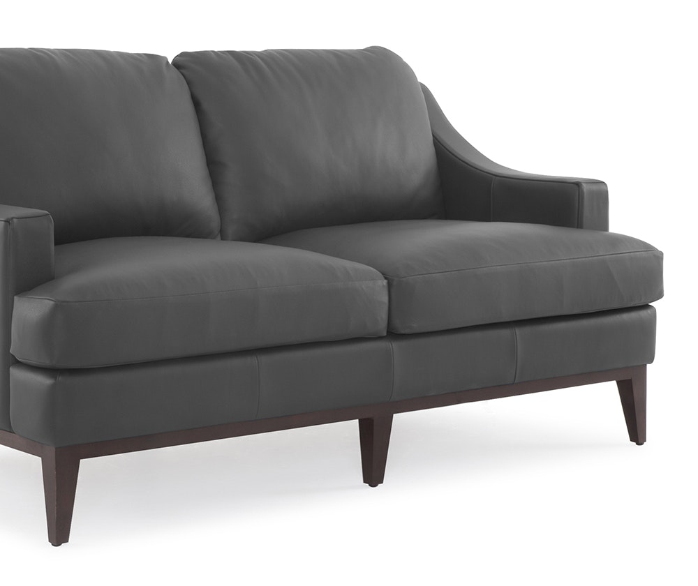 Baker apartment size leather sofa grey apt2b espresso for Apartment size leather sofa